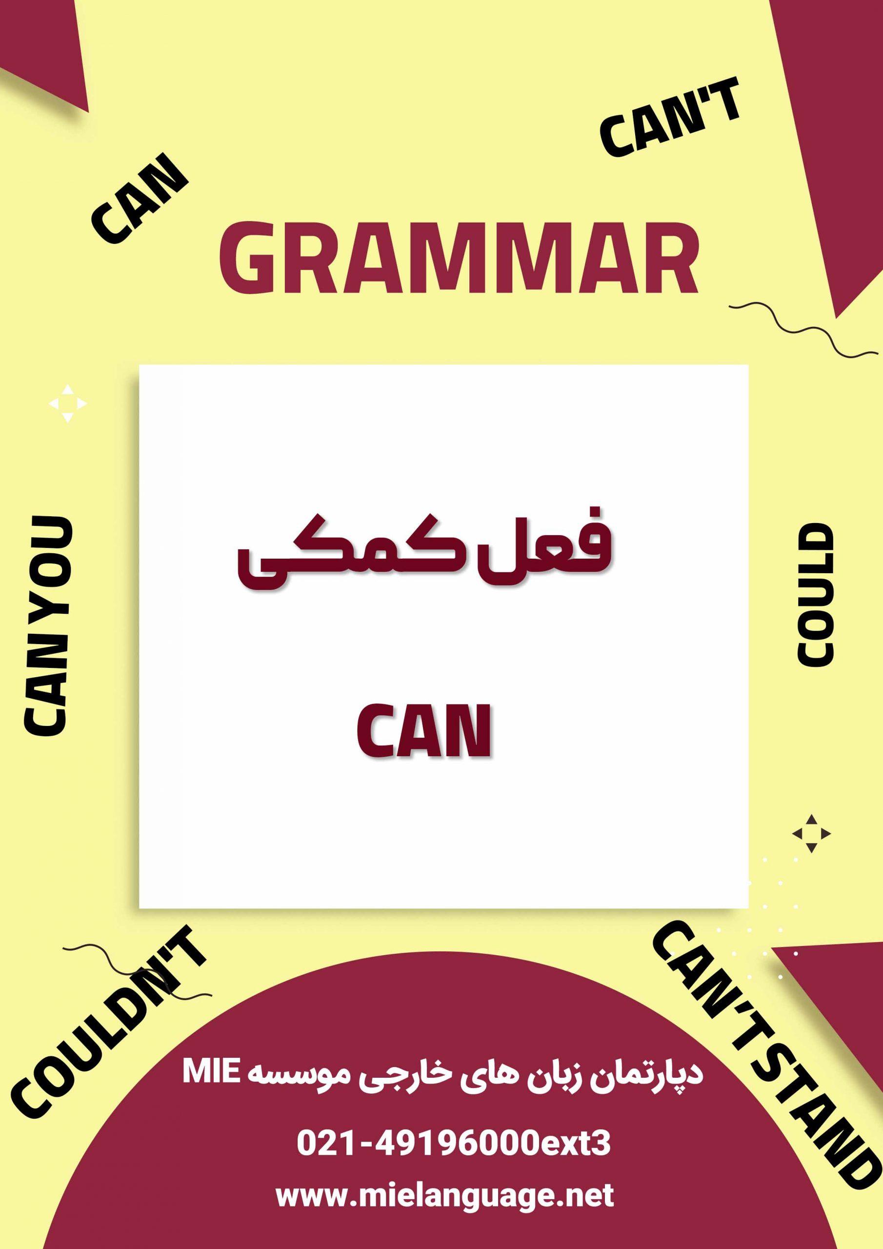 کاربرد فعل کمکی can در زبان انگلیسی